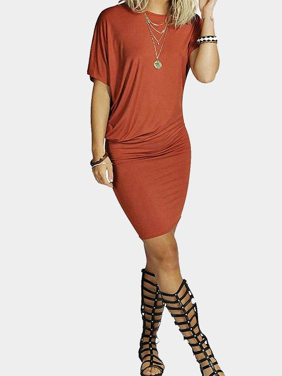 Orange Round Neck Short Sleeve Bodycon Dresses