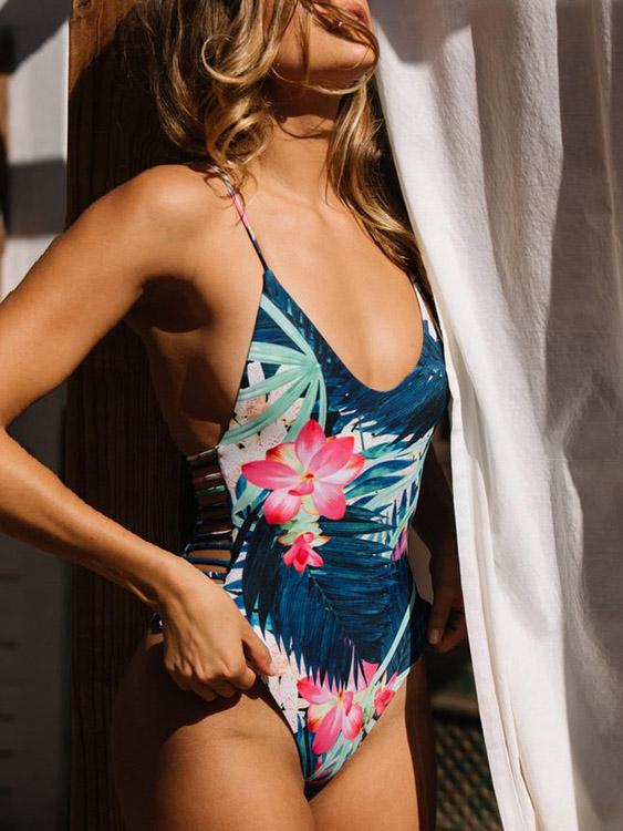 V-Neck Sleeveless Floral Print Backless Wireless One-Pieces