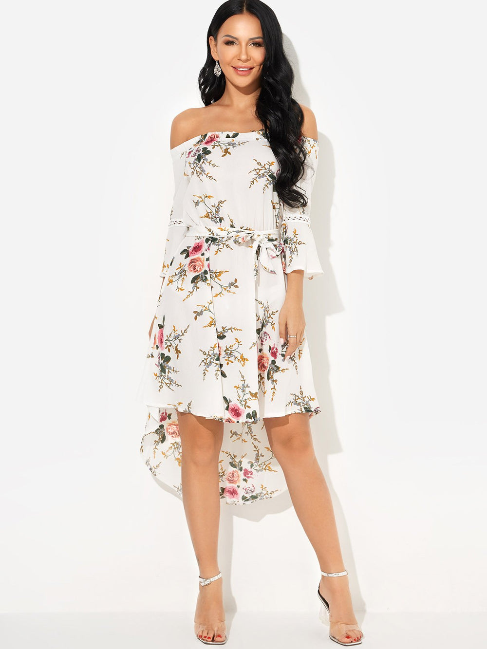 White Off The Shoulder 3/4 Sleeve Floral Print Hollow Self-Tie High-Low Hem Dresses