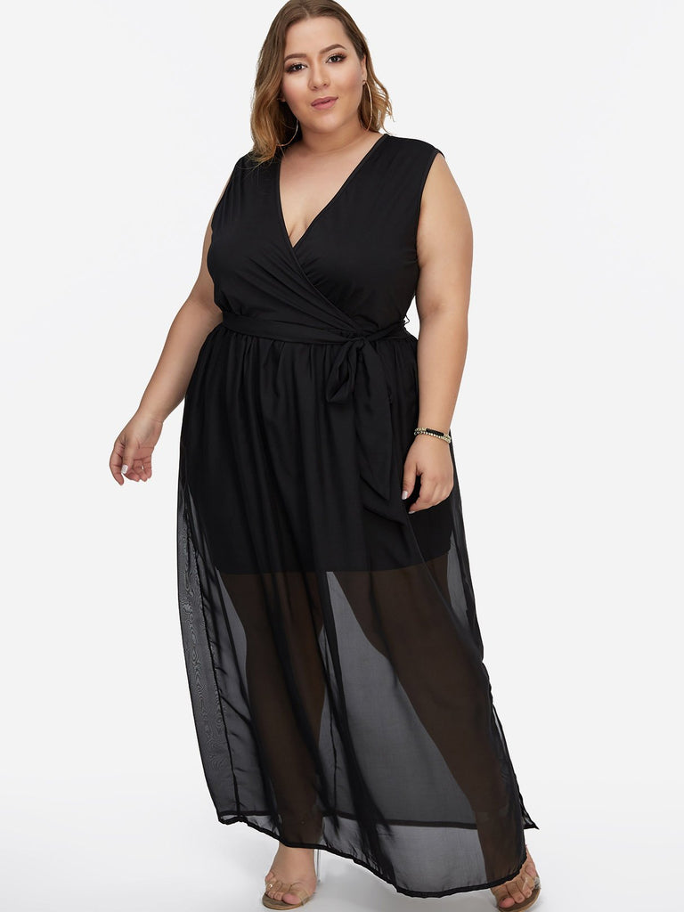 V-Neck Plain Self-Tie Wrap Sleeveless Slit Hem Black Plus Size Maxi Dresses