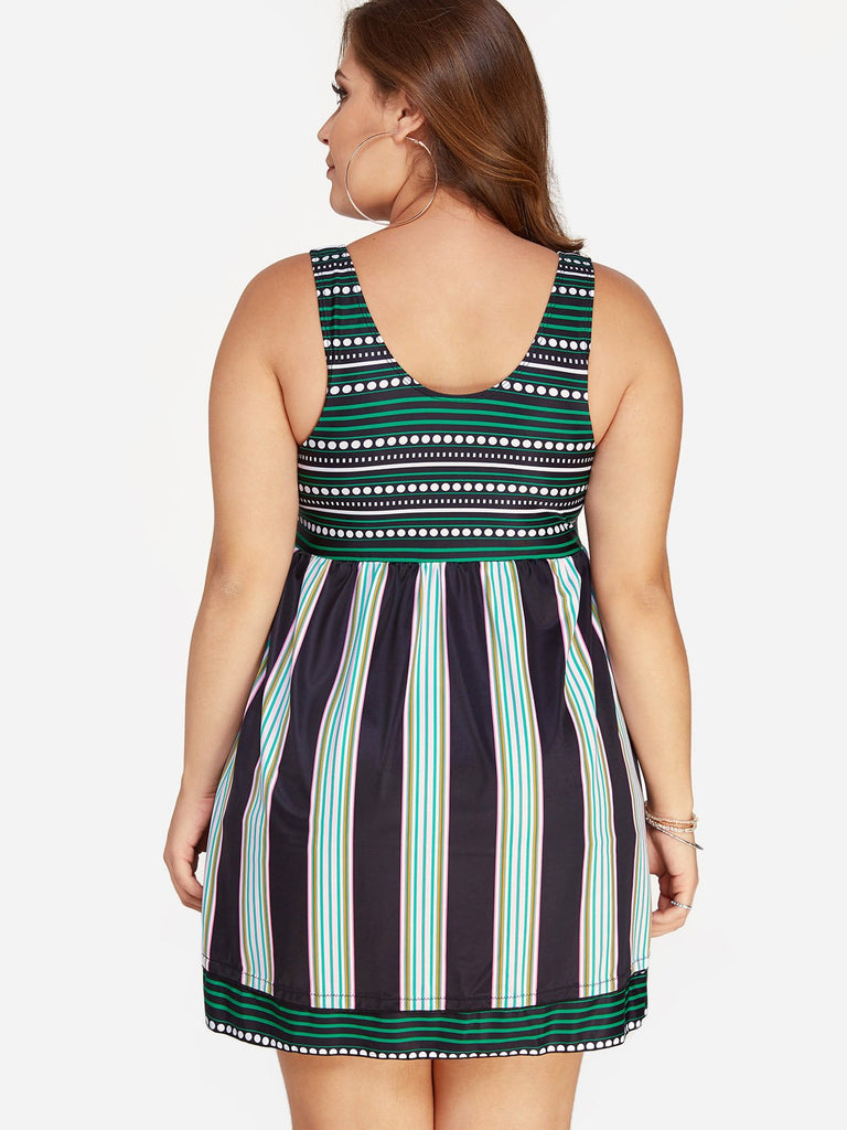 Womens Striped Plus Size Swimwear