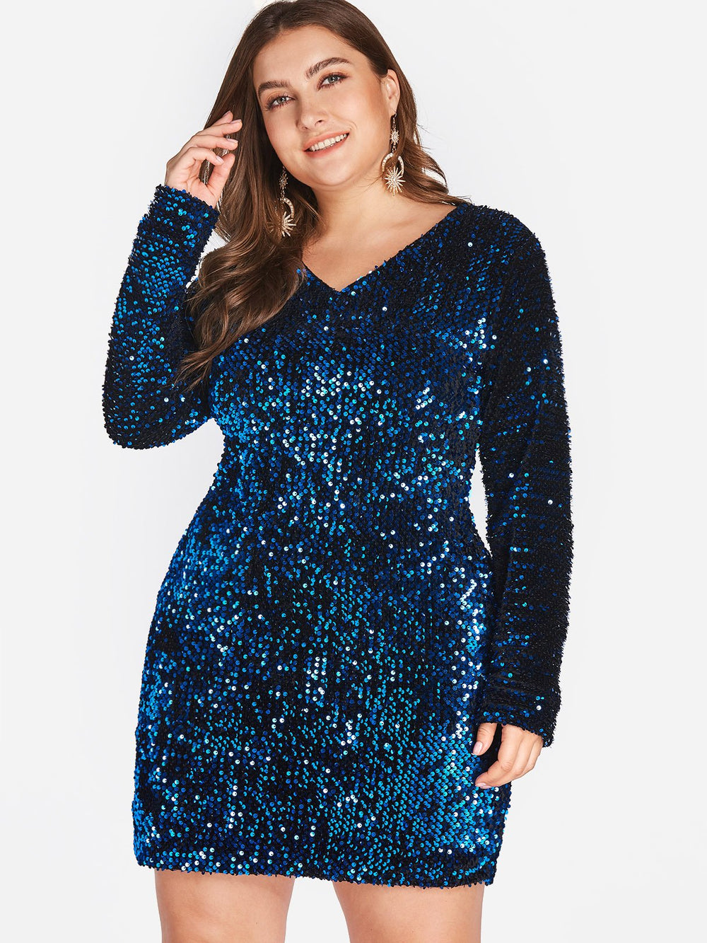 V-Neck Plain Sequins Embellished Long Sleeve Plus Size Dress