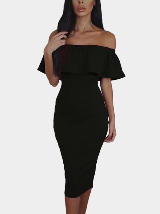 Frill Neck Off The Shoulder Plain Slit Short Sleeve Black Sexy Dresses