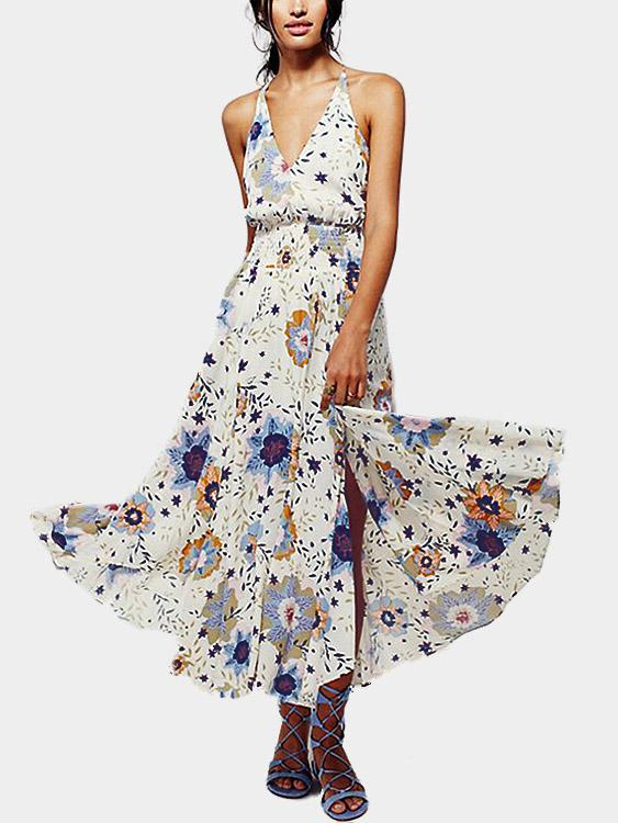 V-Neck Floral Print Backless Sleeveless Maxi Dress