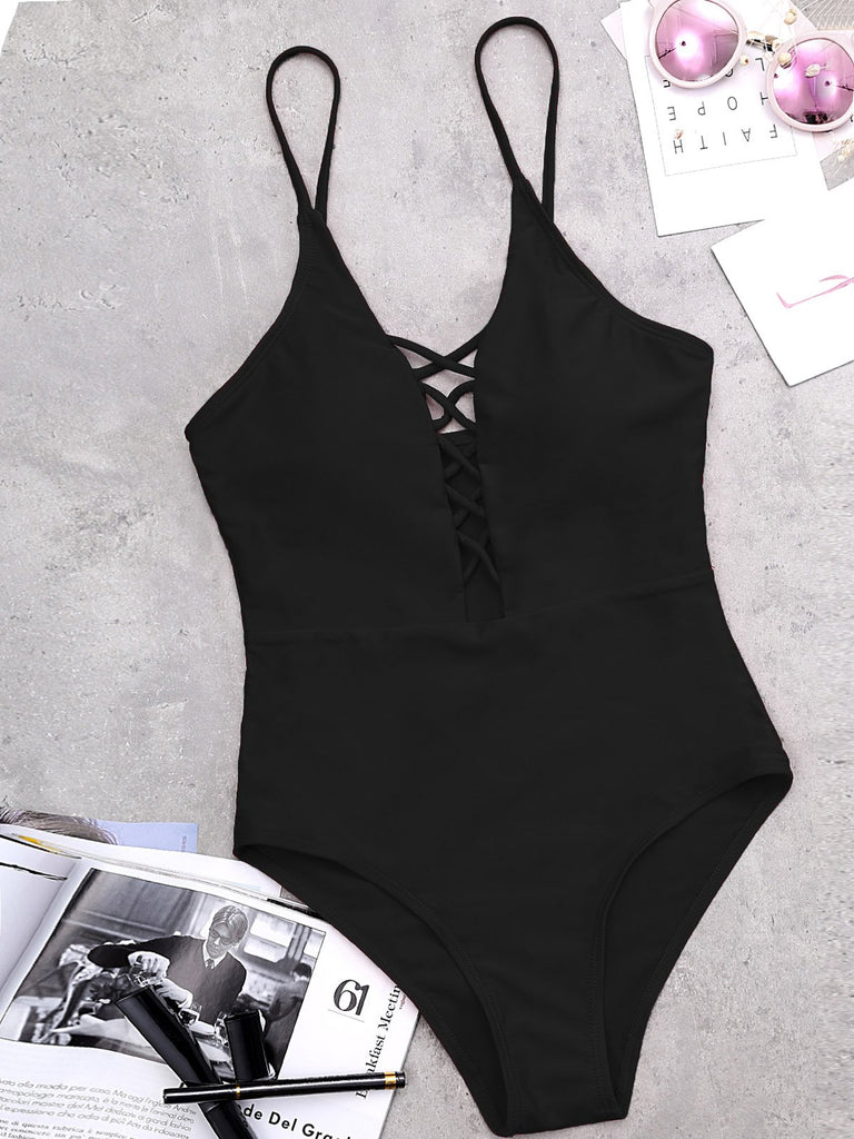 V-Neck Sleeveless Lace-Up One-Pieces