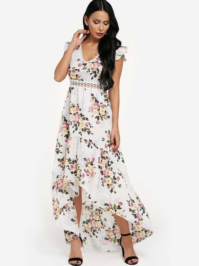 White V-Neck Sleeveless Floral Print Lace Zip Back Partially Lined Flounced Hem Maxi Dress