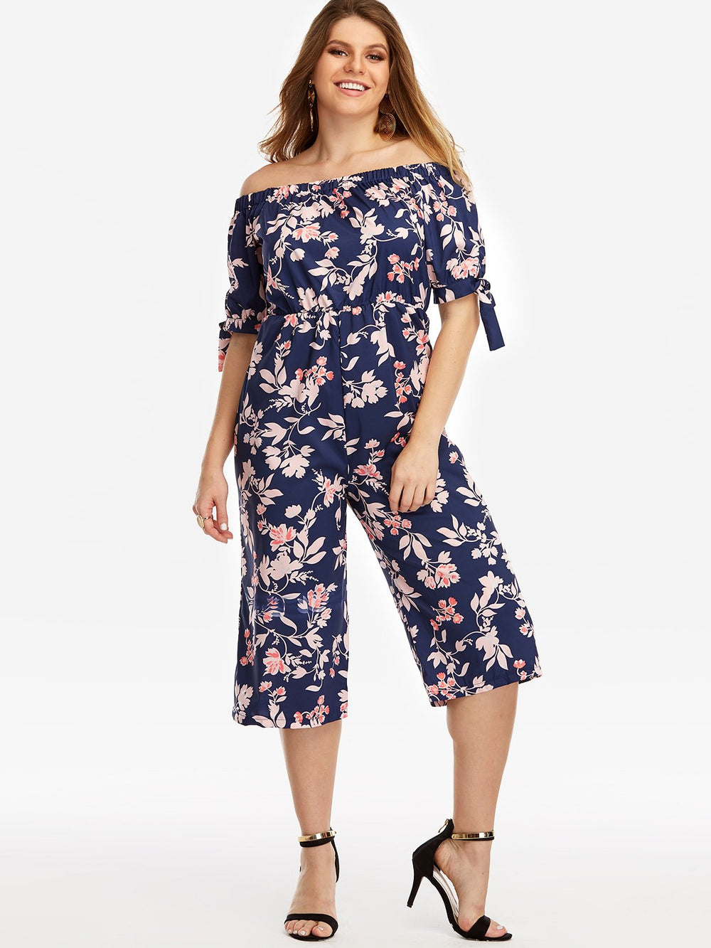 Off The Shoulder Floral Print Half Sleeve Navy Plus Size Bottoms