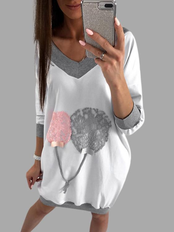 V-Neck Long Sleeve Lace-Up Sweatshirts