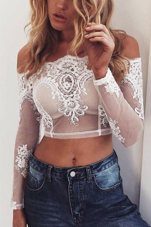 White Off The Shoulder Long Sleeve Lace Crop Top