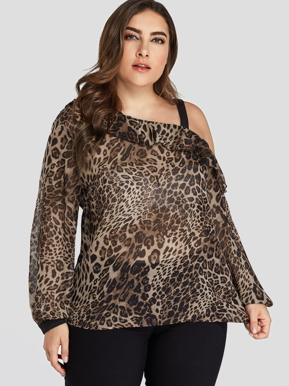 One Shoulder Leopard Long Sleeve Plus Size Tops
