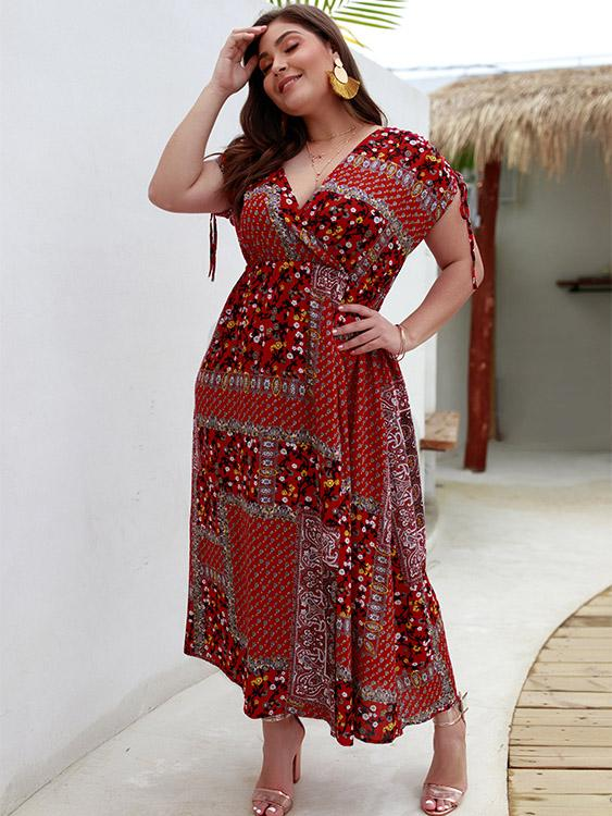 Ladies Burgundy Plus Size Dresses