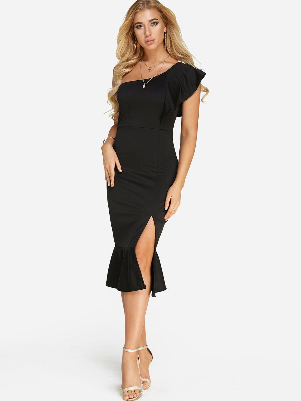 Womens Long Sleeve Midi Dress