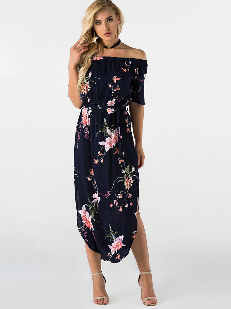 Off The Shoulder Floral Print Self-Tie Short Sleeve Slit Hem Navy Dresses