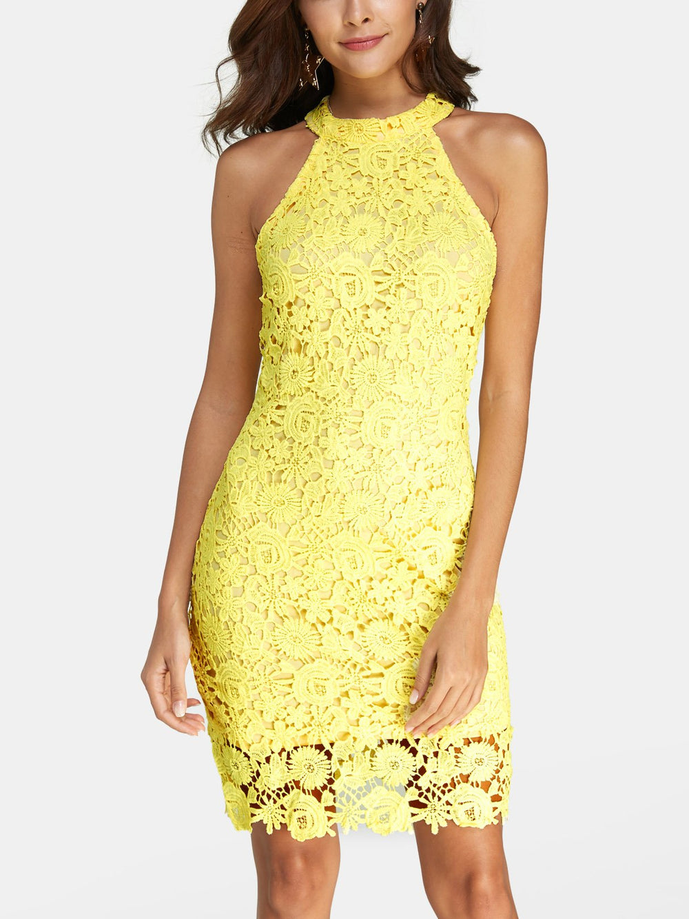 Yellow Halter Sleeveless Lace Tiered Zip Back Hollow Mini Dress