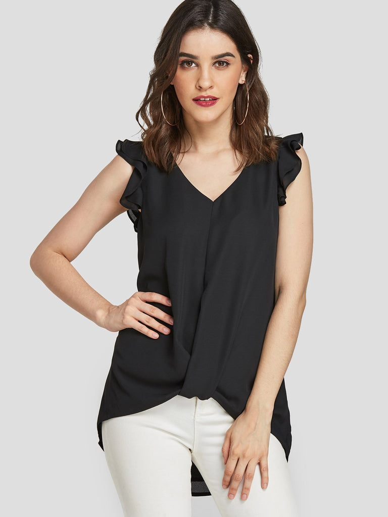 V-Neck Twist Sleeveless Black Tank Top