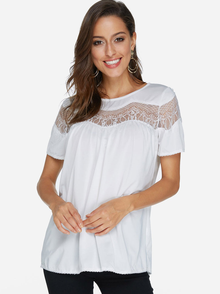 Round Neck Lace Short Sleeve White Top