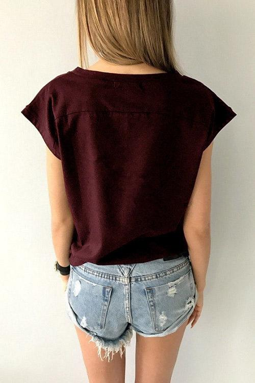 Womens Burgundy T-Shirts