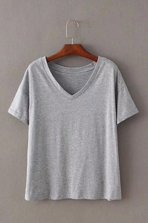 V-Neck Plain Grey T-Shirts