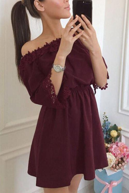 Womens Burgundy Mini Dresses