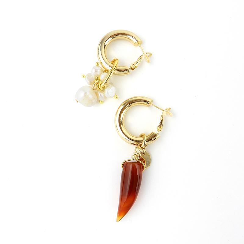 Discount Handmade Statement Mismatched Pearl Earrings