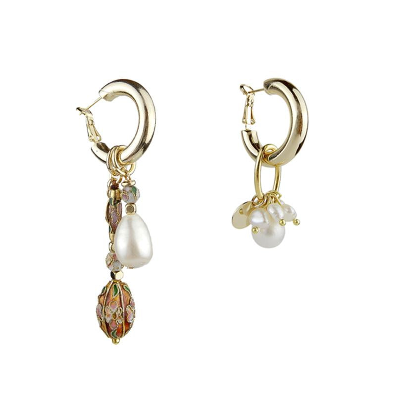 Discount Handmade Mismatched Pearl Cloisonne Earrings