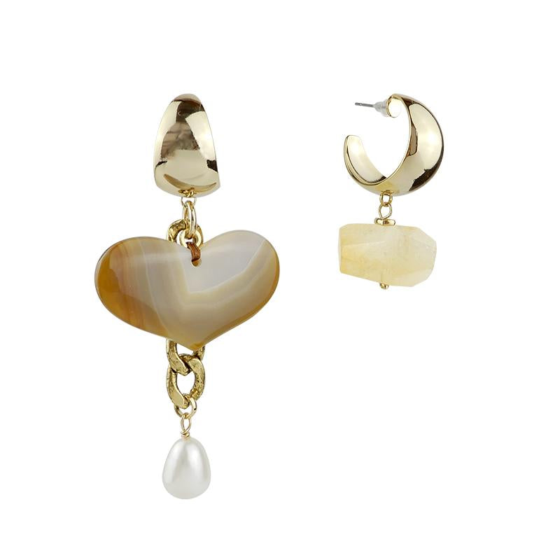 Agate Citrine Mismatched Heart Earrings