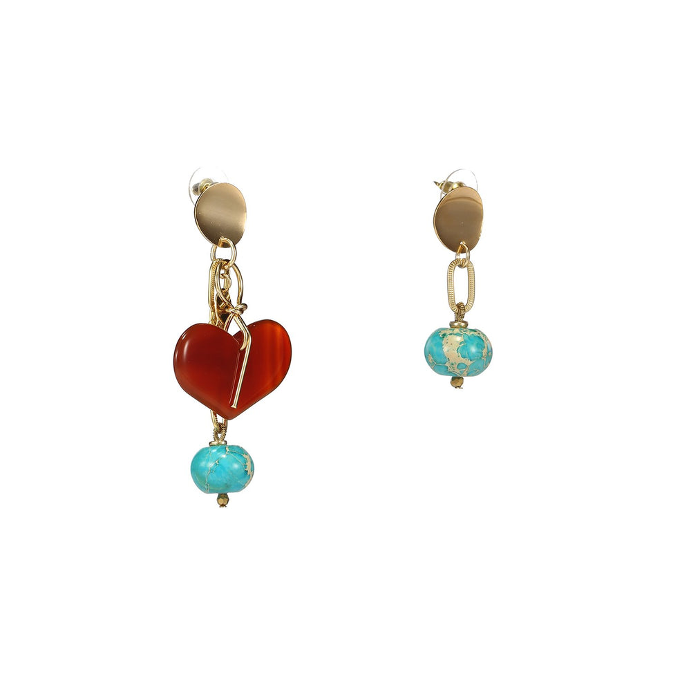 Agate Turquoise Mismatched Heart Earrings