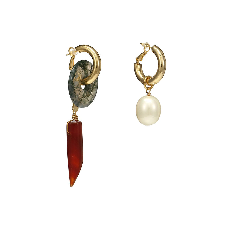 Mismatched Pearl Agate Statement Earrings