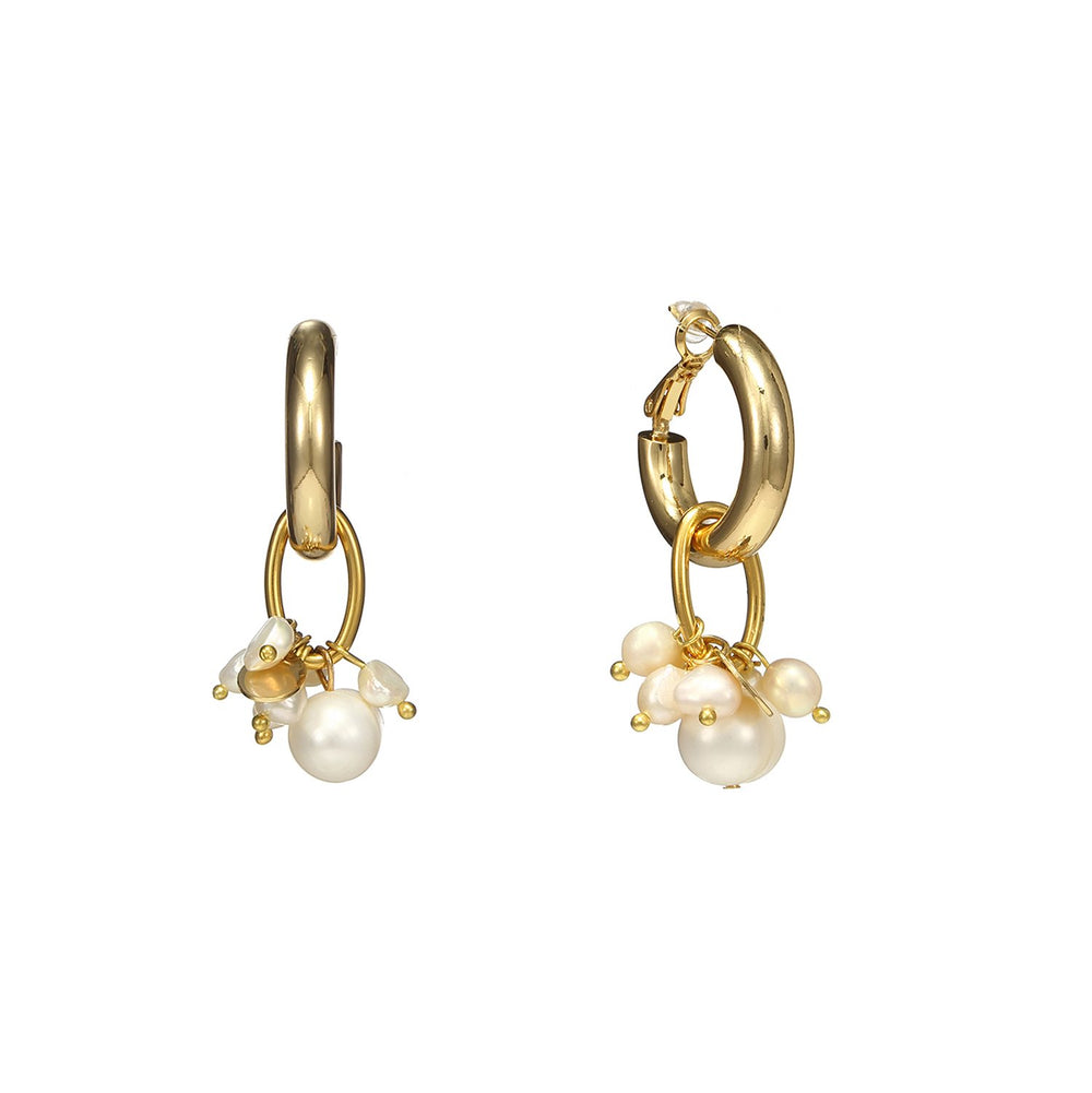 Hoop Mismatched Pearl Earrings