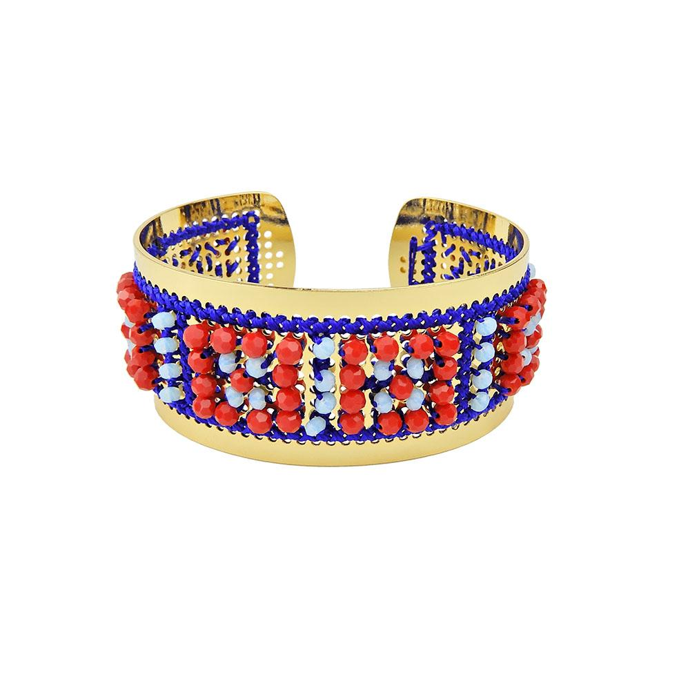 Bead Embroidered Bangle Handcrafted Bracelet Jewelry