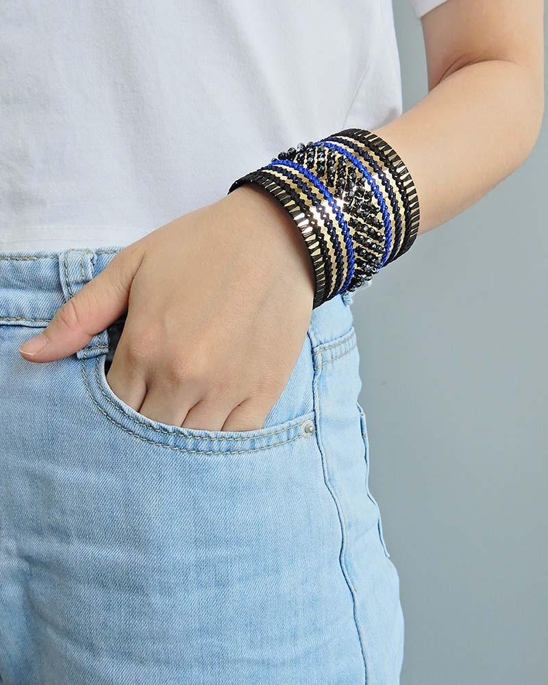 Chunky Bead Embroidery Cuff