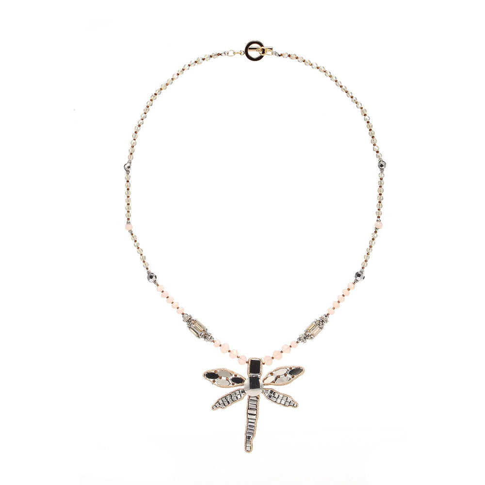Luxurious Beaded Embroidered Dragonfly Pendent Handcrafted Necklace