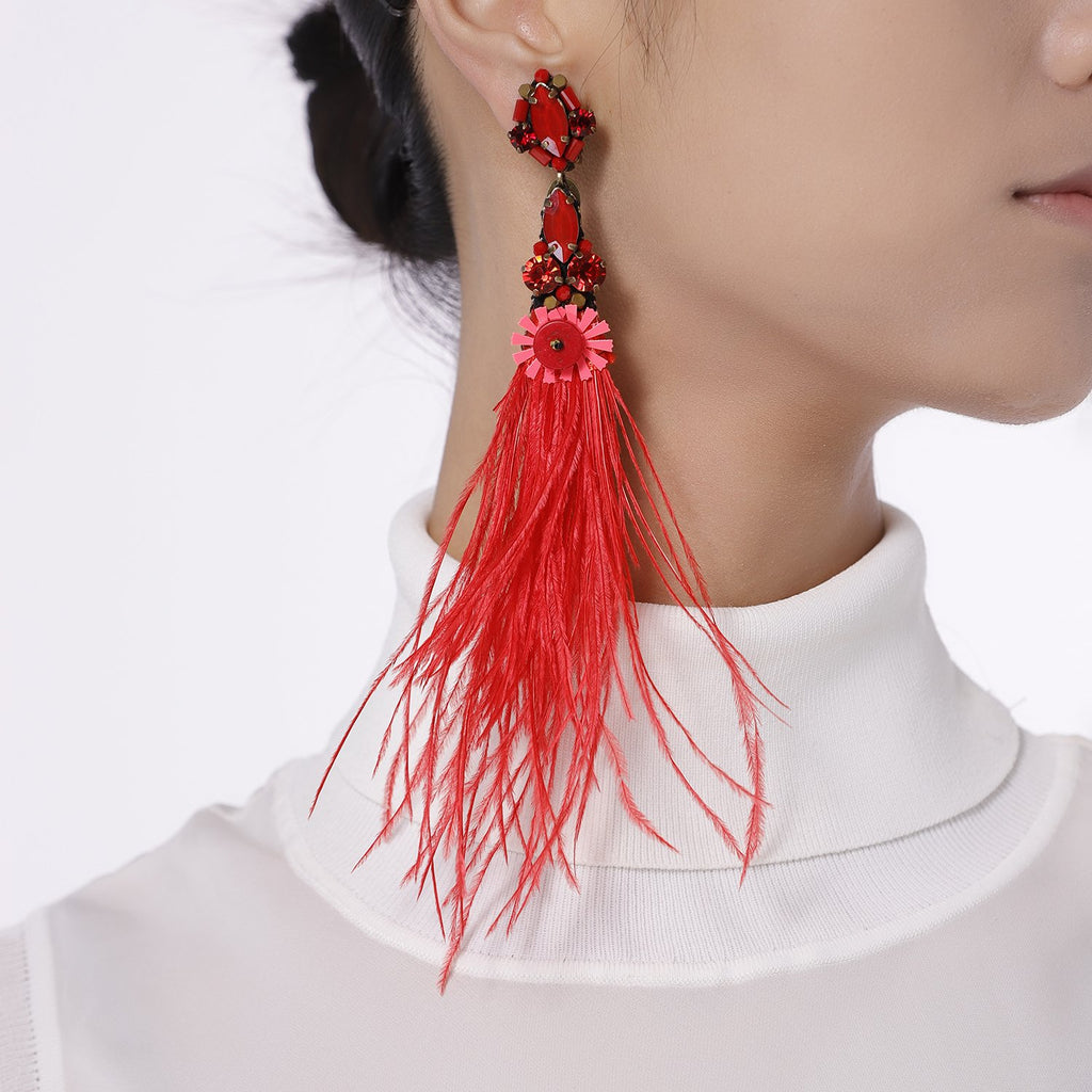 Best Handmade Natural Genuine Ostrich Feather Drop Earrings