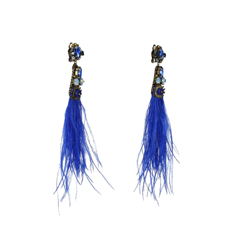 Natural Genuine Ostrich Feather Drop Earrings