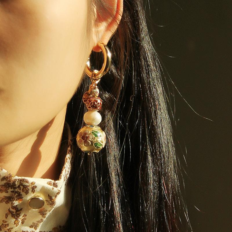 Best Handmade Mismatched Cloisonne Pearl Earring Set