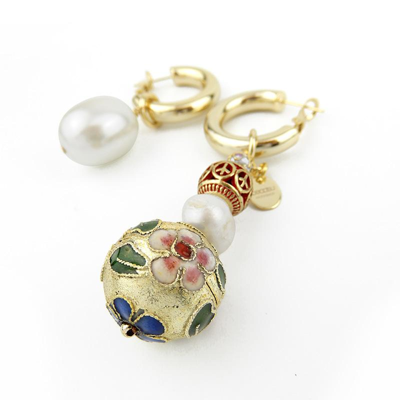 Discount Handmade Mismatched Cloisonne Pearl Earring Set