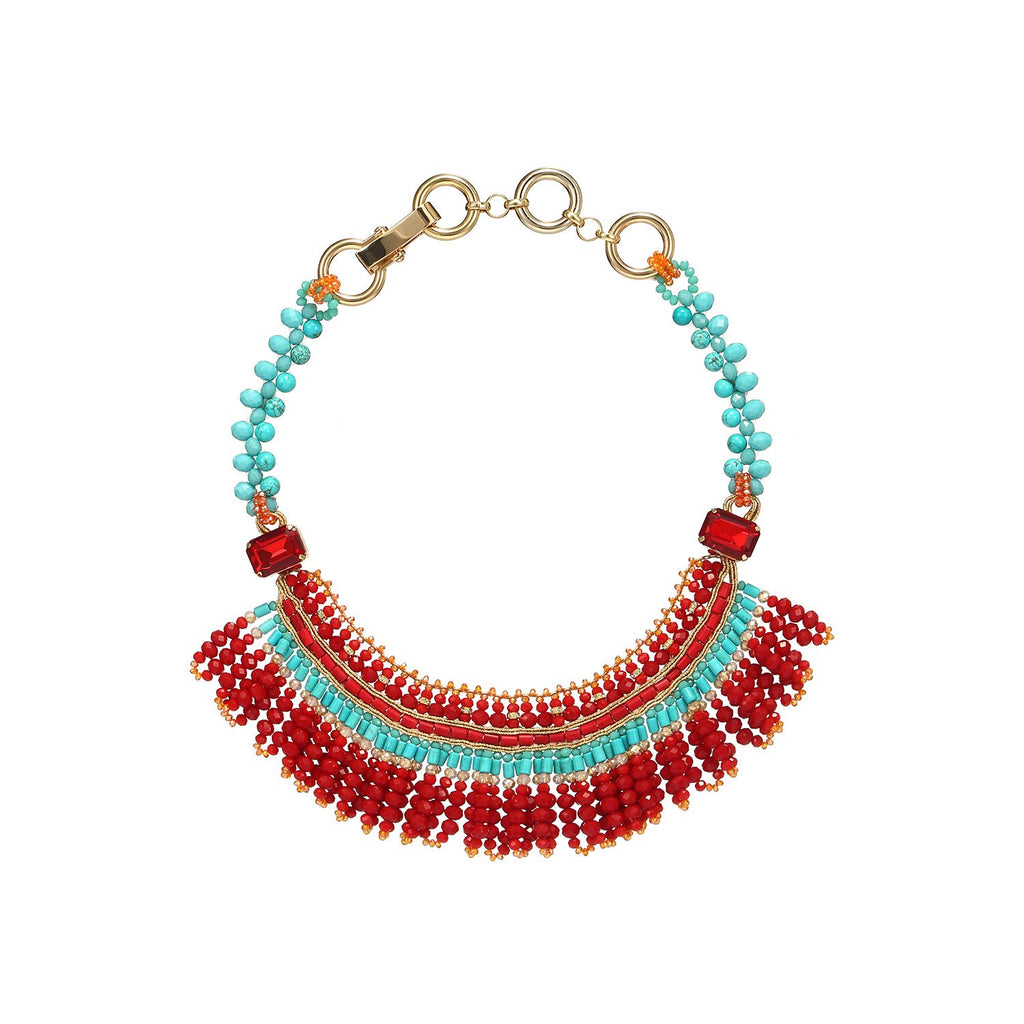 Unique Tassel Tribal Bib Handmade Necklace