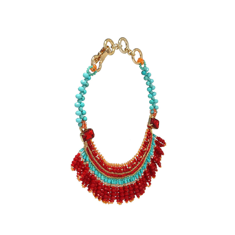 Fringed Tribal Bib Handmade Necklace