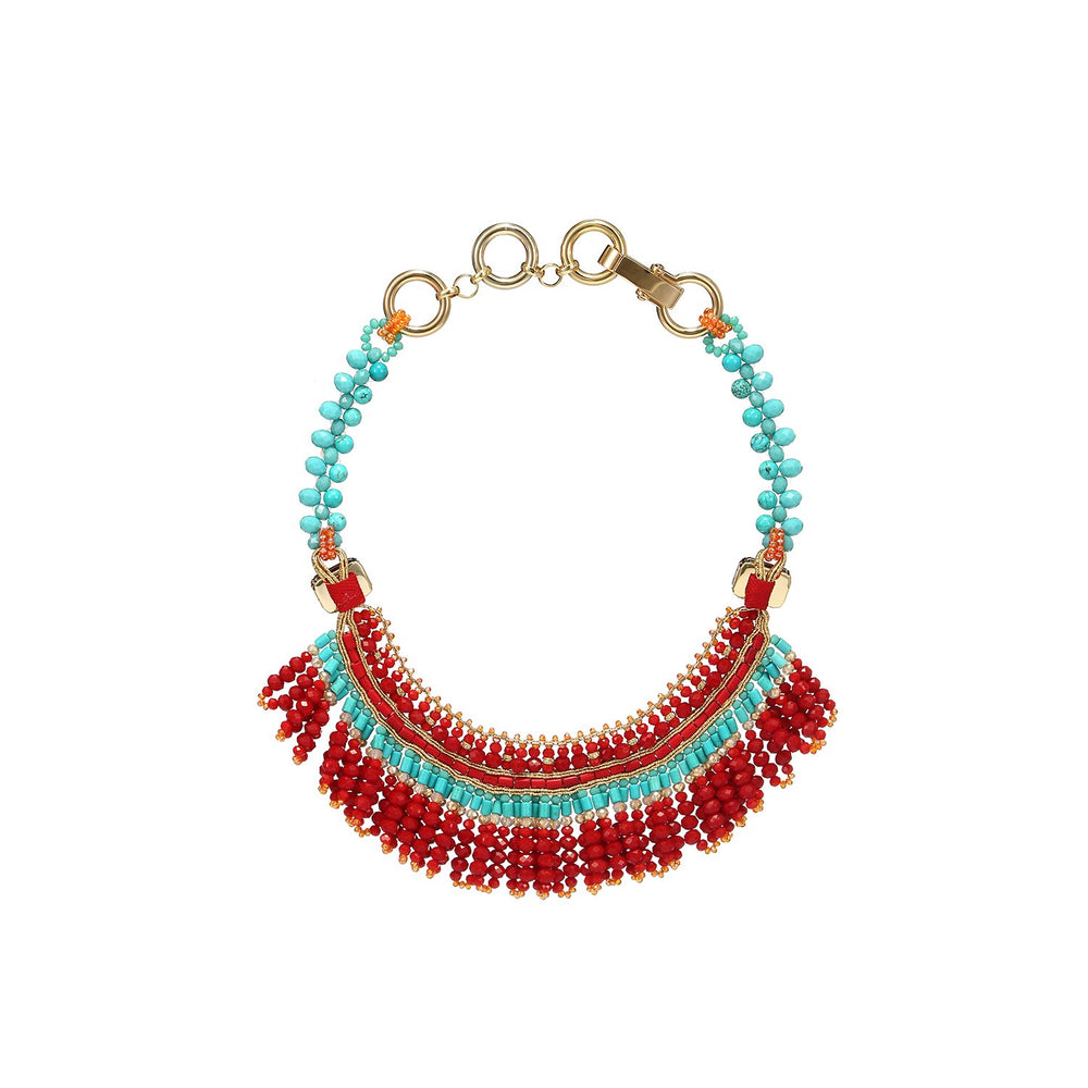 Unique Tassel Tribal Bib Handcrafted Necklace