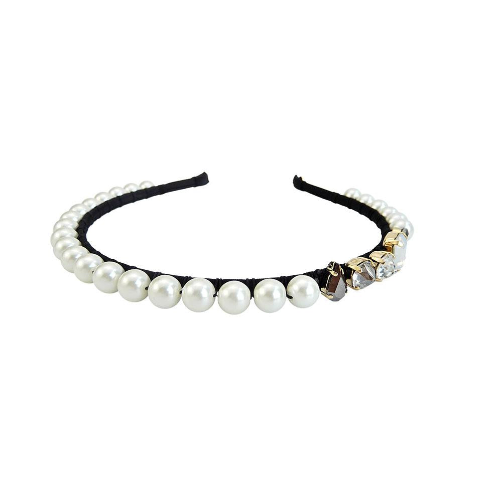 Handmade Pearls Crystals Embellished Headband Womens Gothic Jewellery