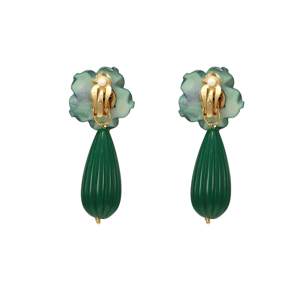 Discount Handmade Cute Drop Flower Statement Earrings