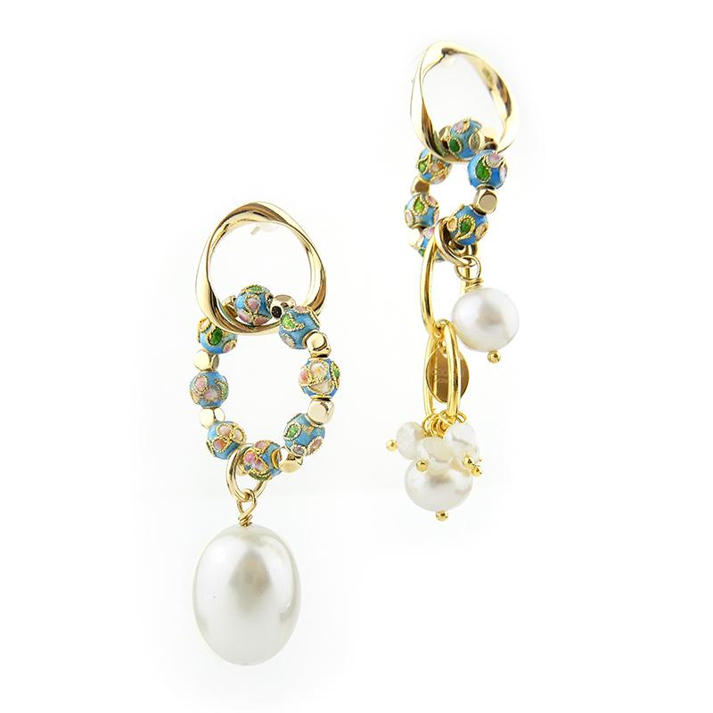 Best Handmade Asymmetrical Pearl Cloisonne Earrings