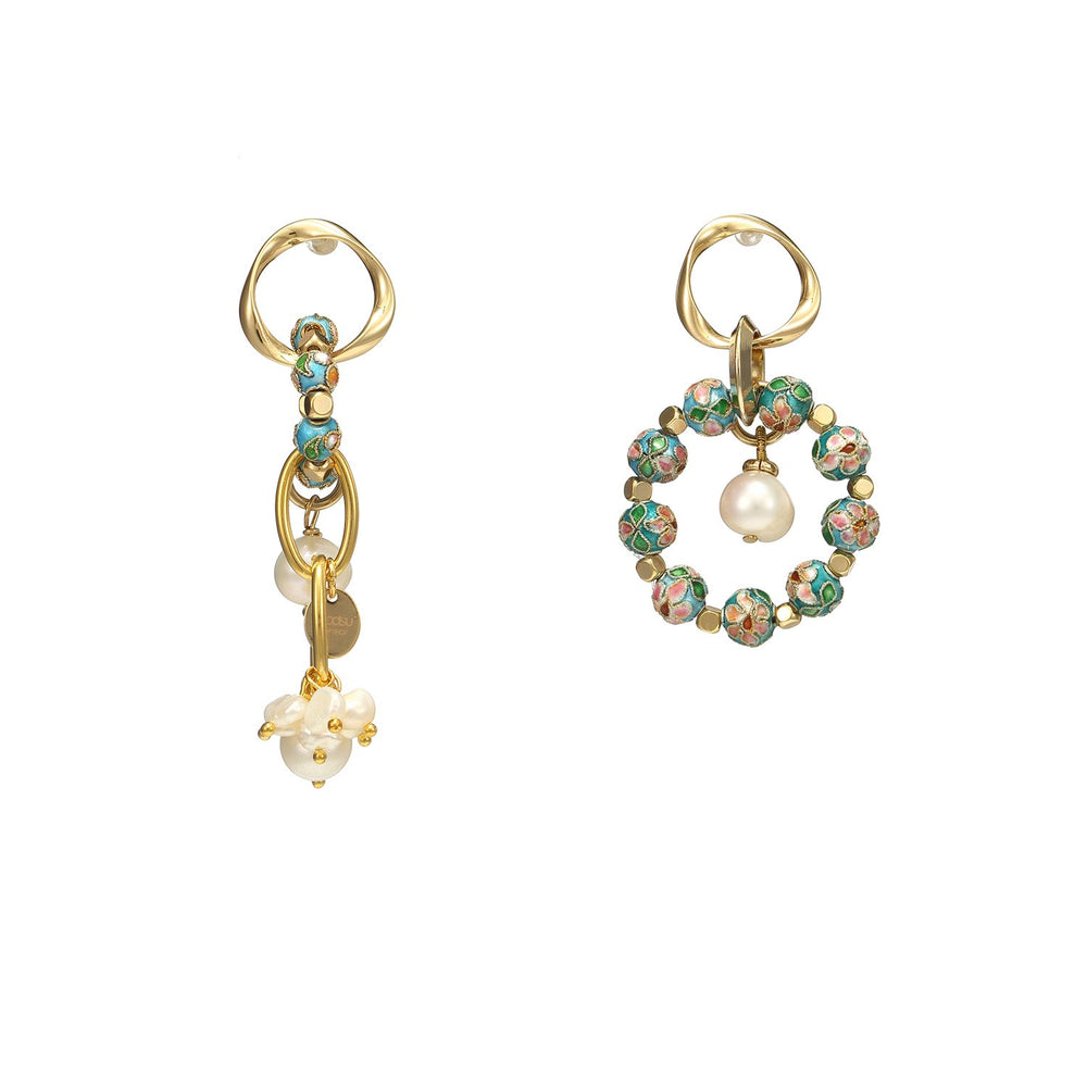 Asymmetrical Pearl Cloisonne Earrings