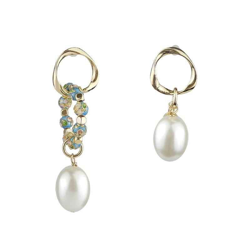 Discount Handmade Asymmetrical Pearl Cloisonne Earrings