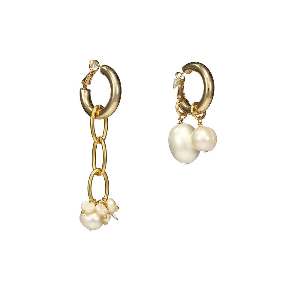 Asymmetrical Cross Pearls Silver Earrings