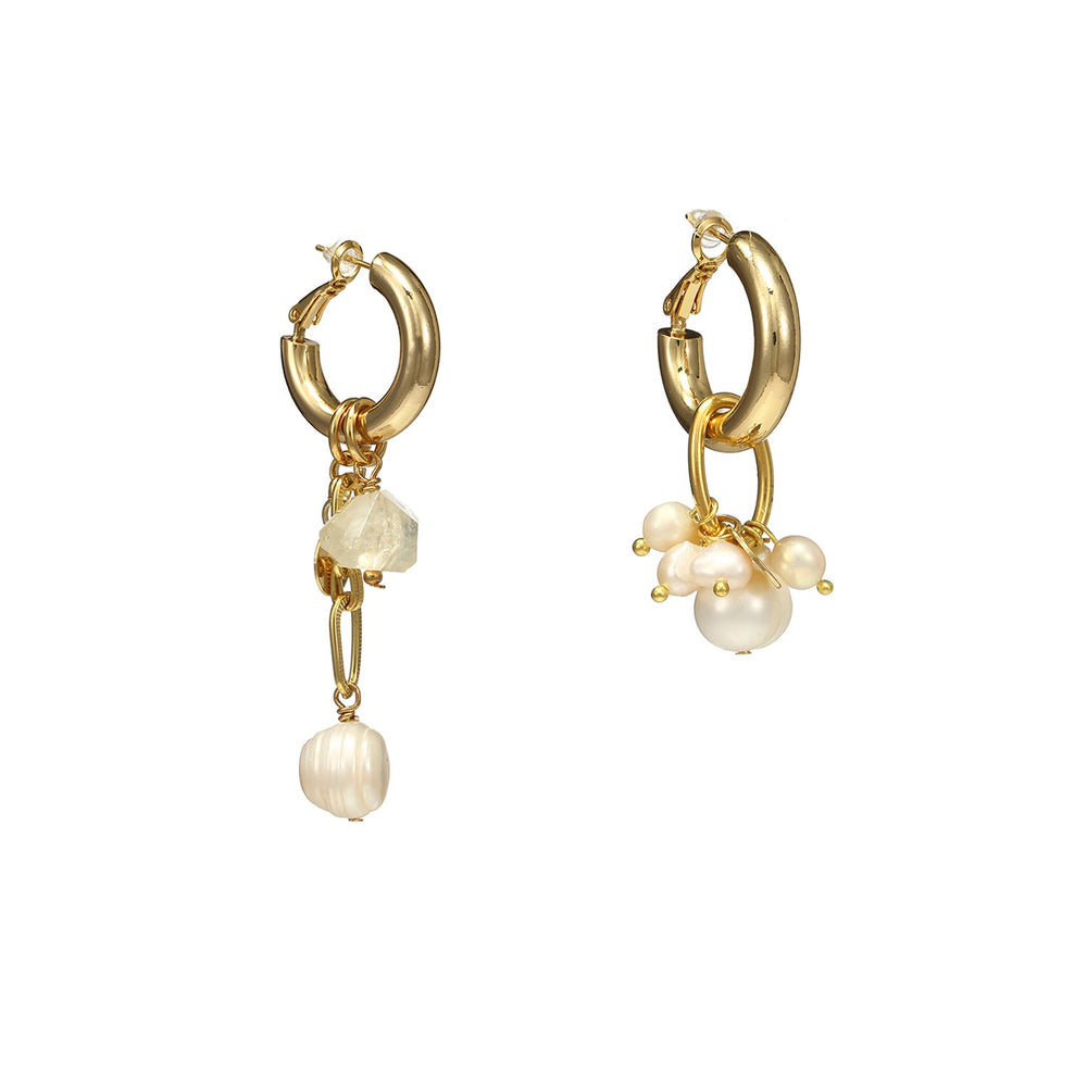 Mismatched Citrine Pearls Cross Earrings