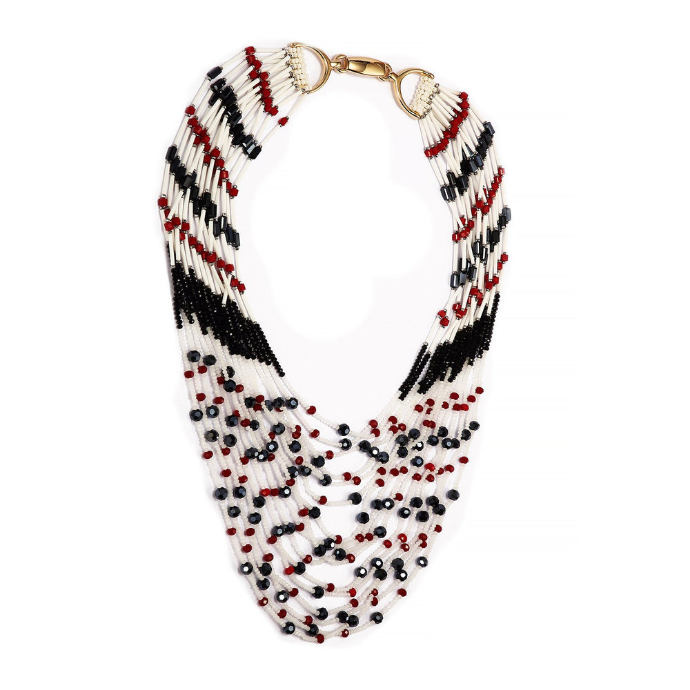 Multi Long Strand Beaded Statement Handmade Necklace