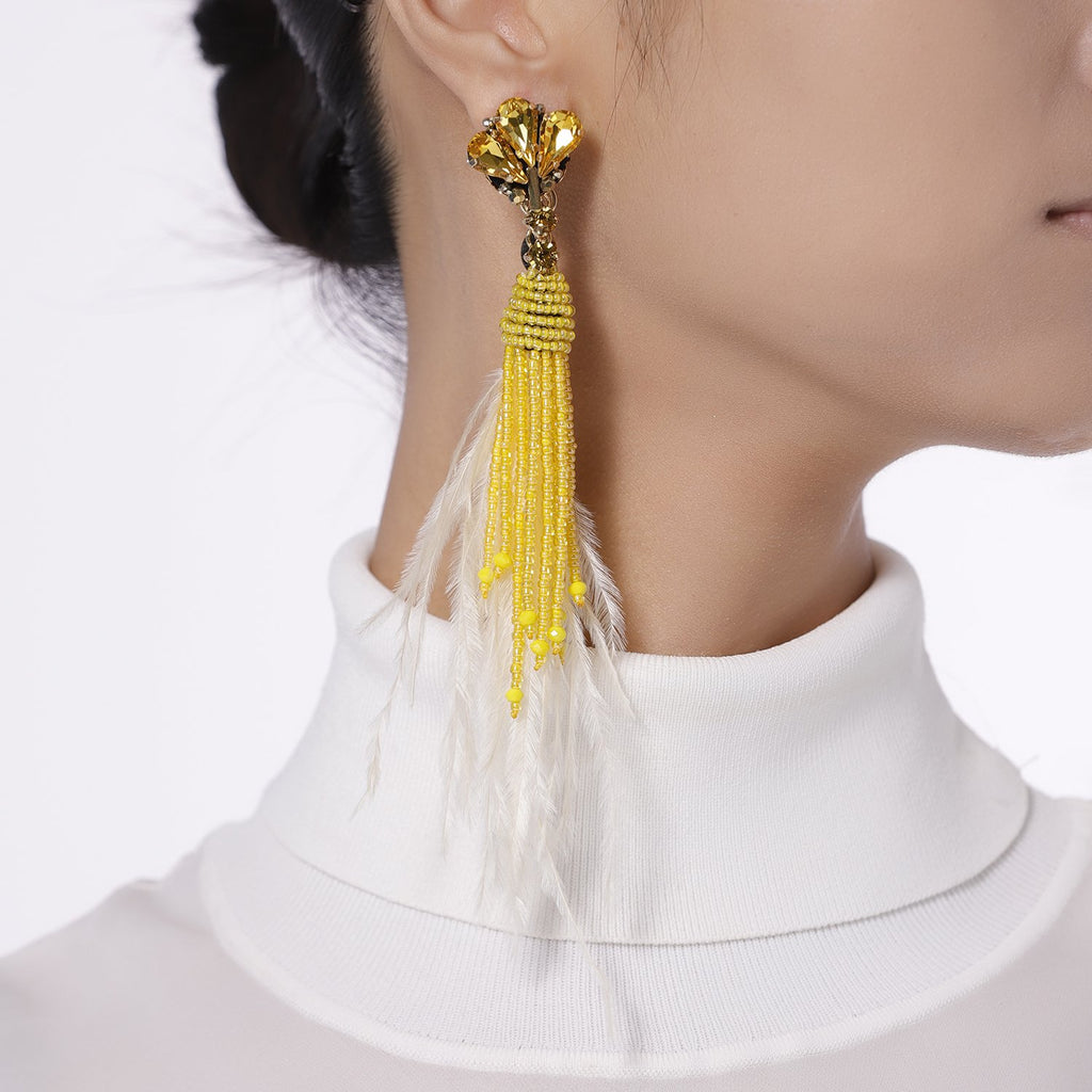 Best Handmade Yellow Ostrich Feather Earrings