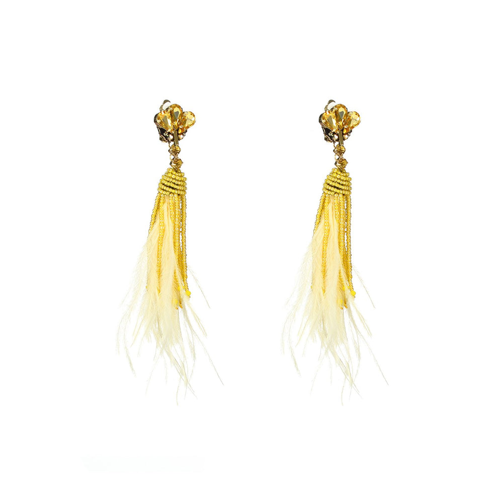 Yellow Ostrich Feather Earrings