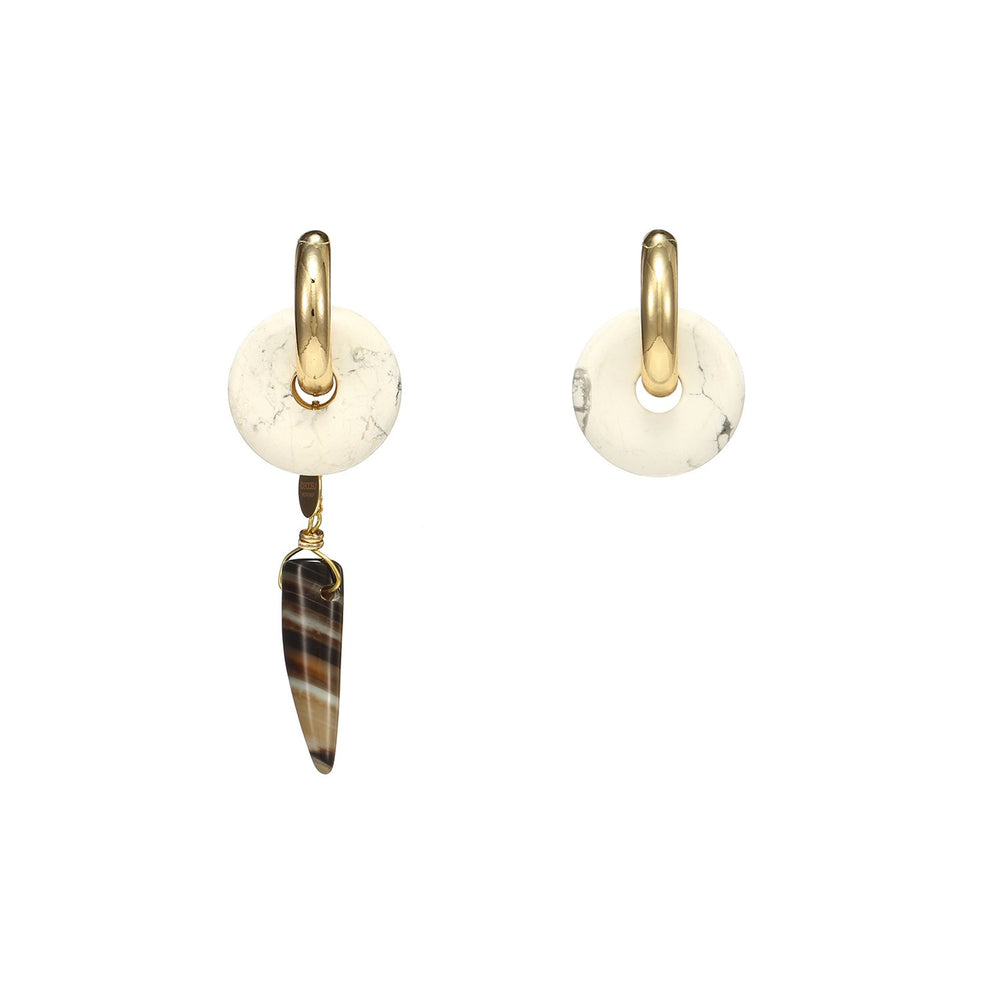 Drop Chilli Agate Mismatched Earrings